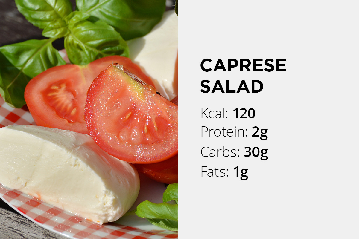 Sliced tomatoes, mozzarela and fresh basil mixed in salad. Nutritin facts stated: 120 calories, 2 grams of proteins, 30 grams of carbs, 1 gram of fat.