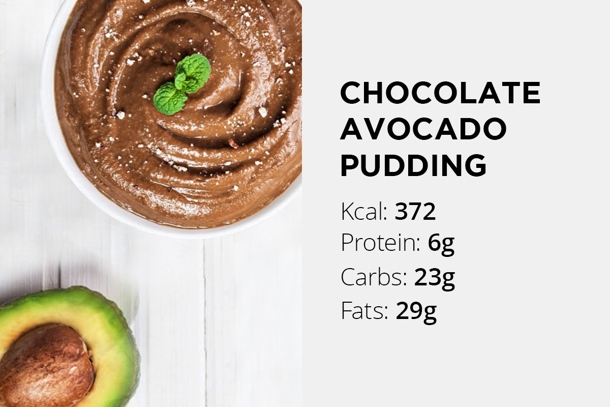 Half of avocado placed next to the small bowl containing chocholate avocado pudding. Nutrition facts stated: 372 calories, 6 grams of protein, 23 grams of carbs, 29 grams of fat.