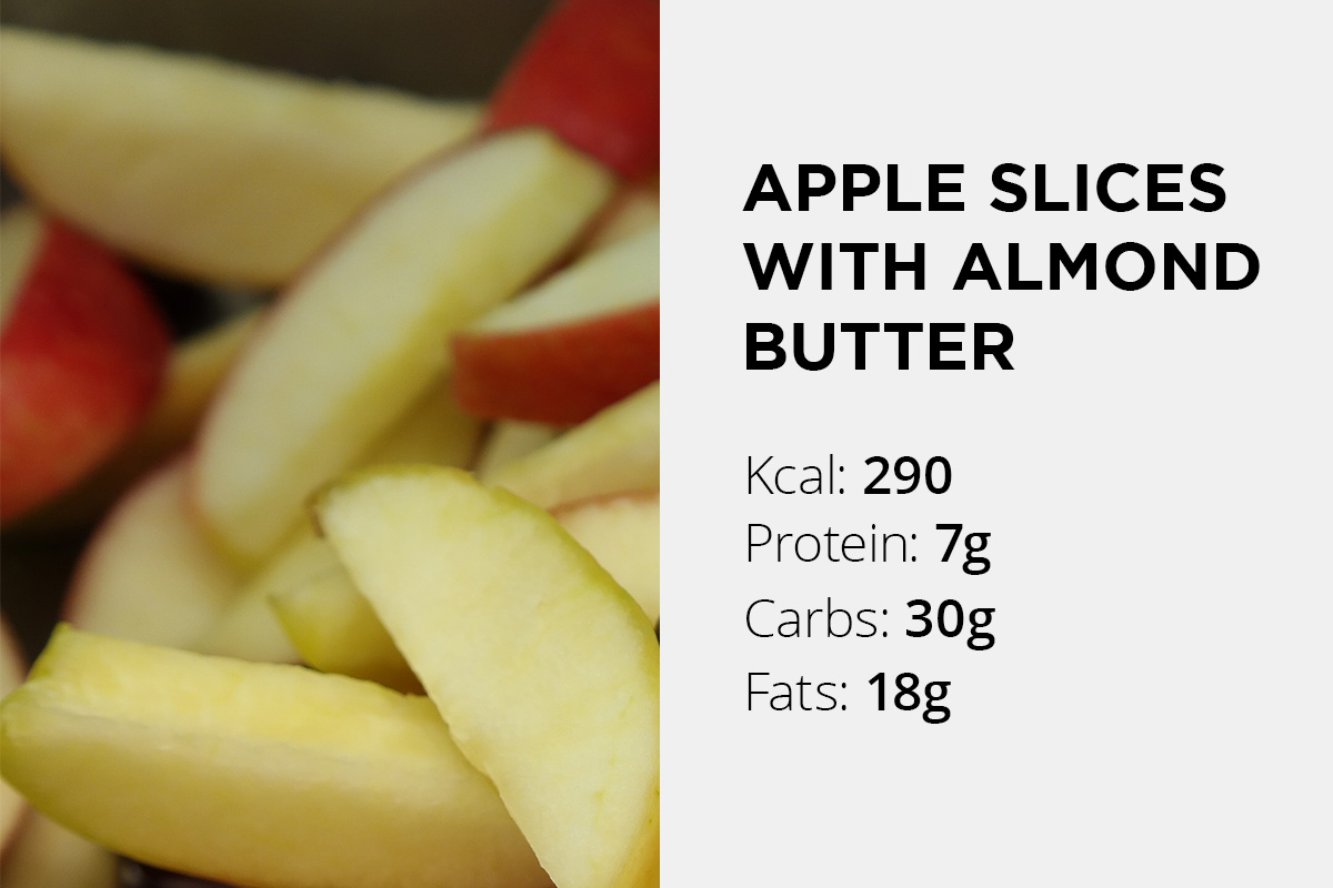 Sliced apple with nutrition data written: 290 calories, 7 grams of protein, 30 grams of carbs and 18 grams of fat