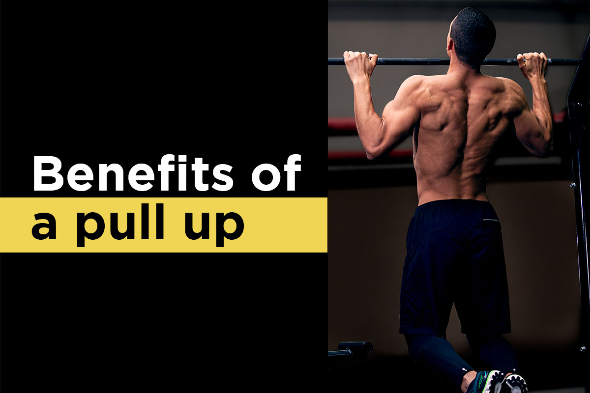 ''Benefits of a pull up'' written on a left side on a black background. ''Benefits of'' is written in a white fond in an upper line. ''a pull up'' is written on a black font, but higlighted in yellow, in a lower line. On the right side, a ripped man in training tights and sneakers is doing a pull up, background darkened - his hands are grabing a bar slightly wider than the shoulder width, his elbows flexed and his chin is over the bar.