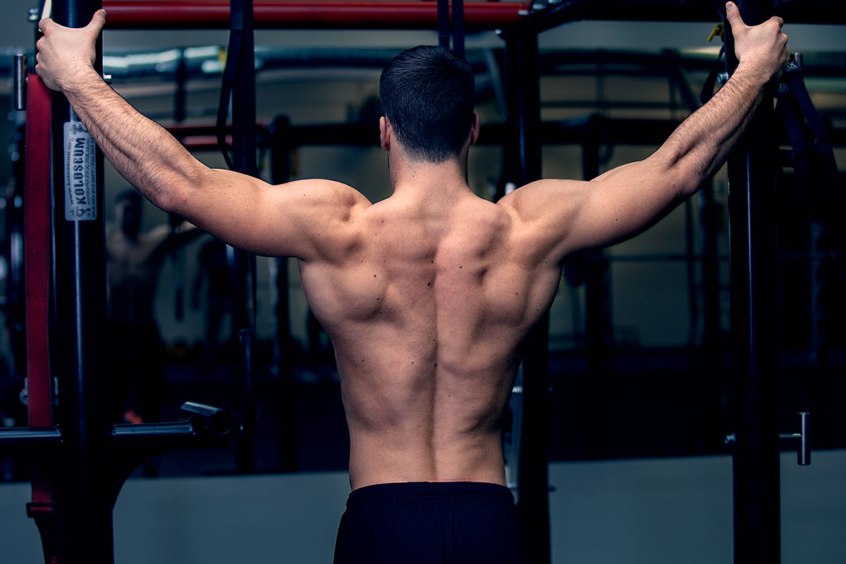 Ripped man, viewed from the back, torso naked. Arms extended on the sides of the body, holding onto the pull-up bar at hight of his head.