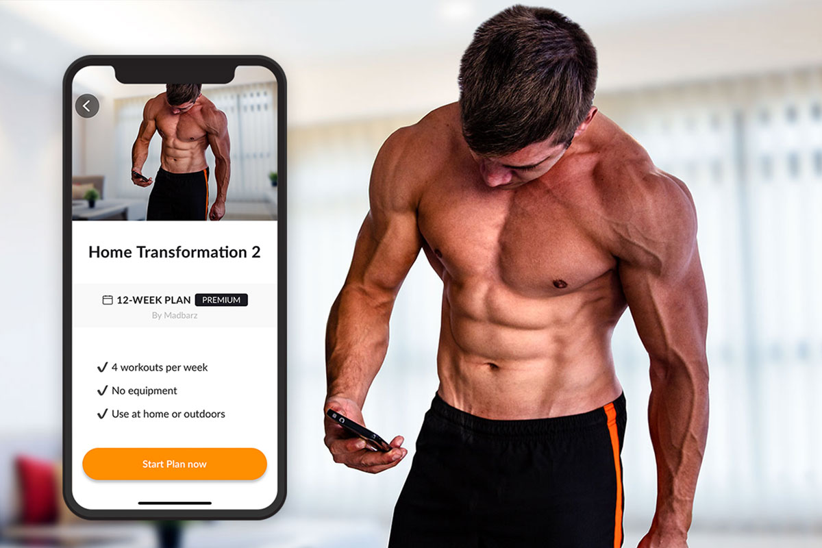 On the right half of the picture, there is a ripped man, wearing training shorts, shot only sows him up to the middle of his tights. On the left side of the picture, there is a screenshot of the phone scren, showing the Madbarz Home Transformation 2 workout plan homepage, featuring the same photo of the man on the right side. Below the photo, there is a title ''Home Transformation 2'' and a description: 12-week workout plan (Premium, by Madbarz). Next line, on bulletpoints: 4 workouts per week; No equipement; Use at home or outdoors. Next line: a orange button with ''Start now plan'' writen on it.