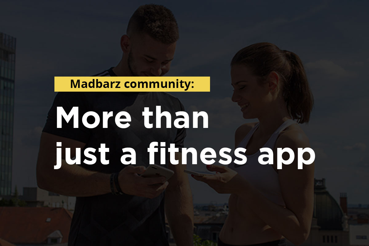 Writing: Madbarz communiti: more than just a fitness app. In the backgroung, young fit man and woman in a training equipement looking at their phones, smiling.