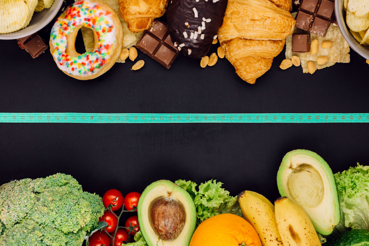 Picture diveded in half horizontaly, upper half shows pastry products and sweets, lover fruits and vegetables