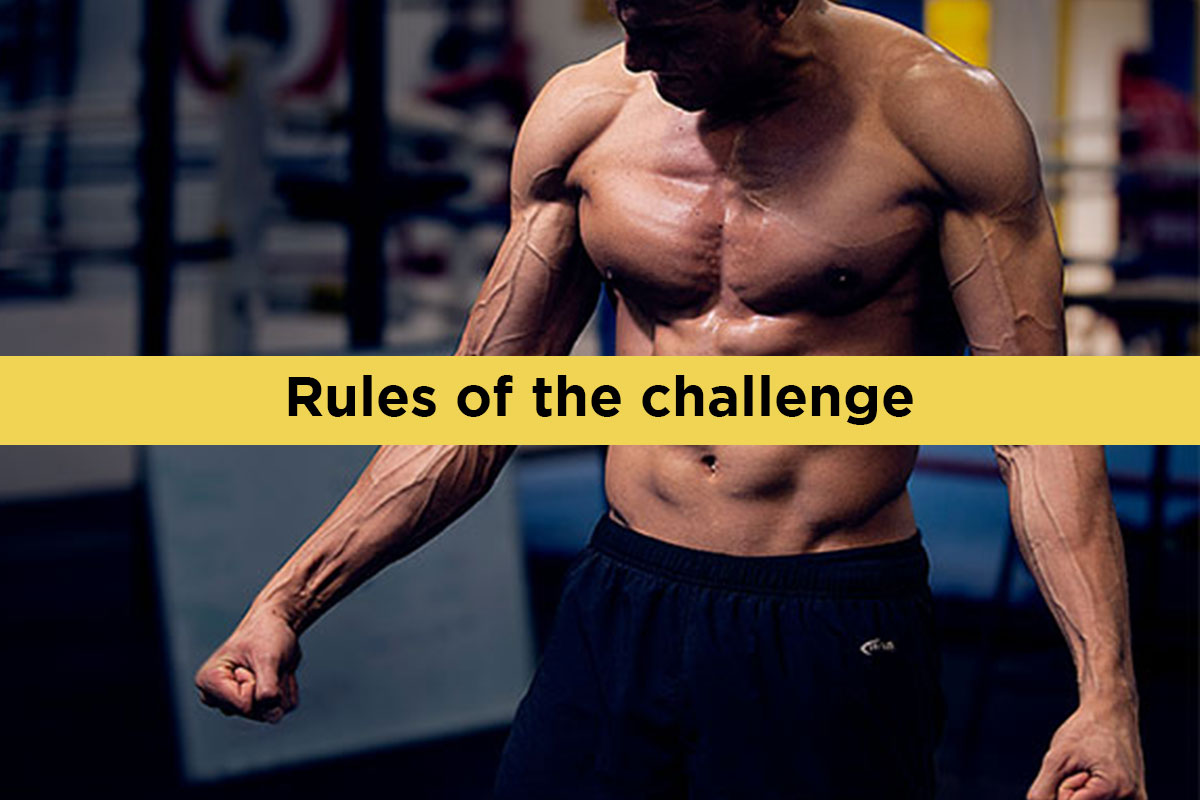 Ripped man, torso naked, flexing his arms. ''Rules of the challenge'' written over the picture in the yellow line, horizontaly.