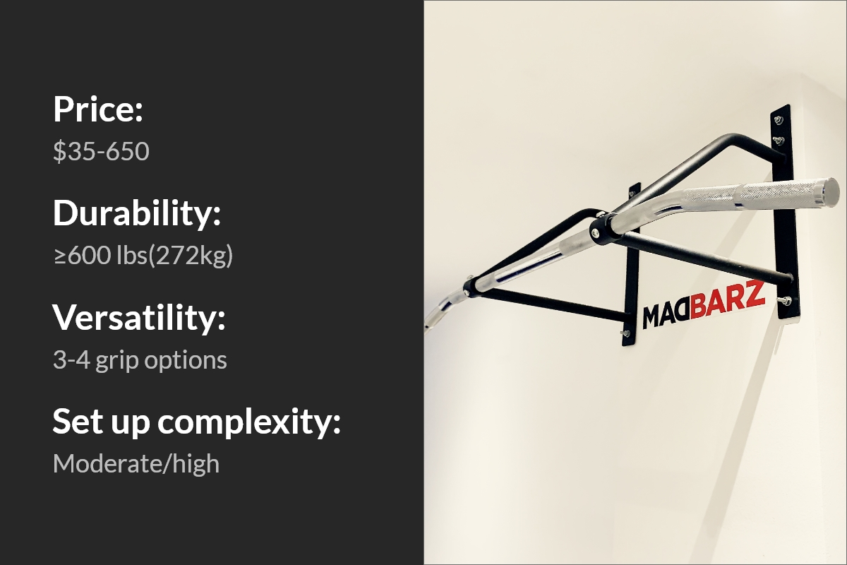 A picture diveded on two parts by a straight line on the middle, left is the black background with white text: Price:$ 35-650; Durability:≥600 lbs(272kg); Versatility: 3-4 grip options; Set up complexity: moderate/high. On the right, a picture of wall-mounted pull up bar on the white wall, with Madbarz sticker underneath it.