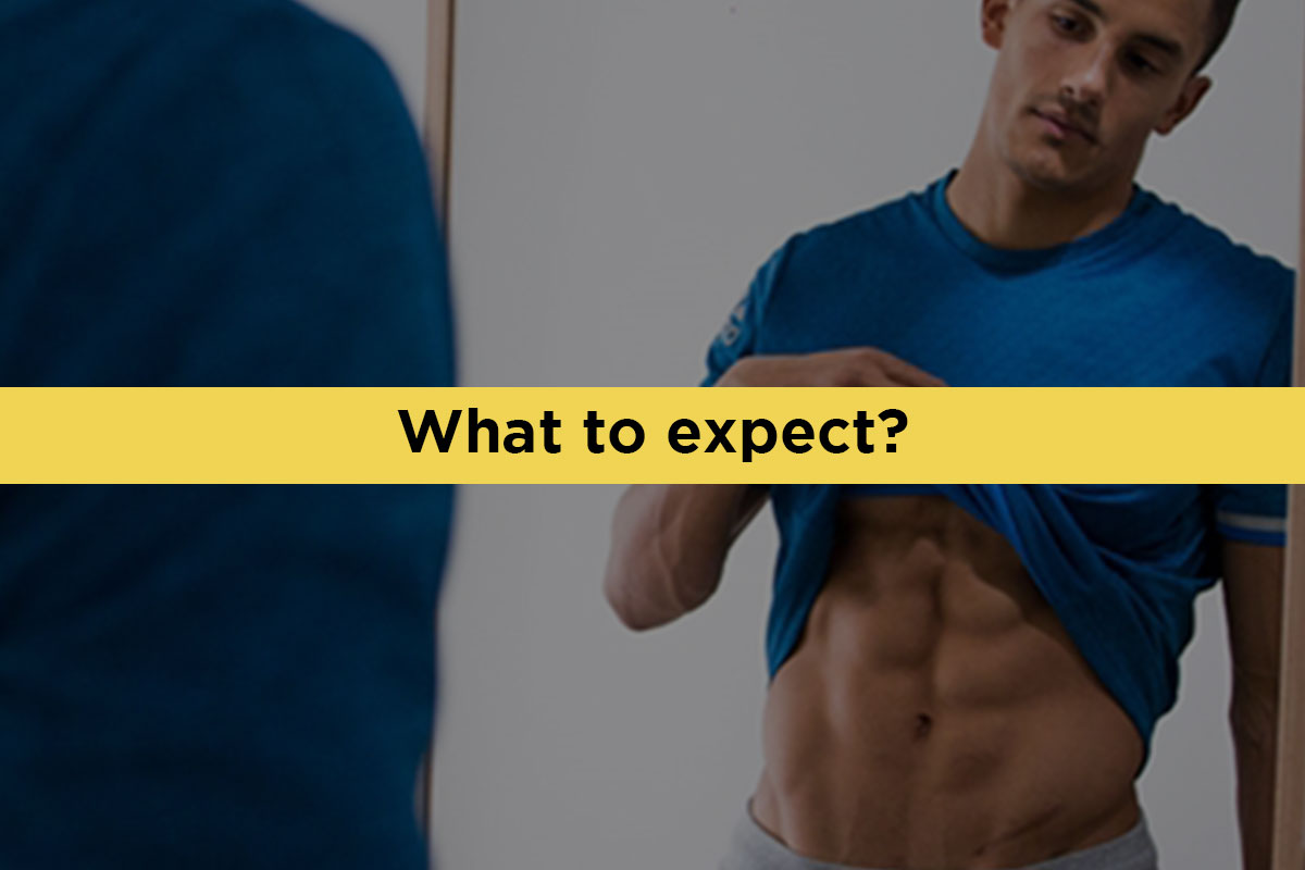 Ripped man wearing a blue t-shirt, facing camera bacwards, looking at the mirror. He is raising t-shirt with his right hand, looking at his abs. ''What to expect?'' written in the yellow line over the middle of the photo, horizontally.